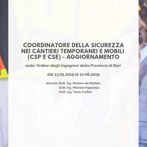 coordinatore della sicurezza nei cantieri temporanei e mobili (csp e cse) - aggiornamento